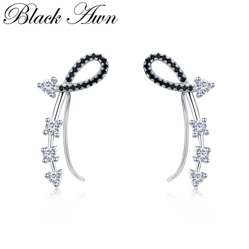 Black Awn Romancit 925 Sterling Silver Jewelry Engagement Flower Drop Earrings For Women Black Spinel Female Earring Gift I035