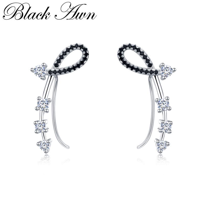 Black Awn Romancit 925 Sterling Silver Jewelry Engagement Flower Drop Earrings For Women Black Spinel Female Earring Gift I035 in Earrings from Jewelry Accessories