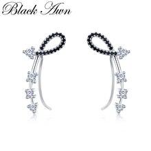Black Awn Romancit 925 Sterling Silver Jewelry Engagement Flower Drop Earrings For Women Black Spinel Female Earring Gift I035