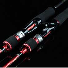 Spinpoler 2.1M Casting Spinning Lure Carbon 2 Sections Fishing Rod Pole Stick Medium Fast Action For Winter Bass Trout Fishing