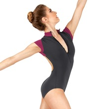 Women ballet leotard shinny nylon cap sleeve zipper front for ladies gymnastics women
