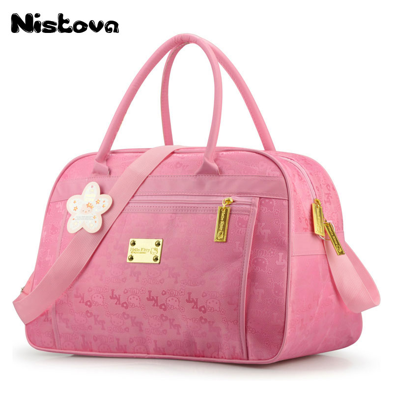 Women Waterproof Travel Duffel Bag Hello Kitty Cat Cartoon Handbags Weekend Trip Crossbody Tote High Capacity Luggage Bags Pink