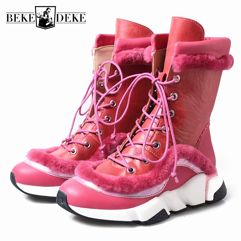 Genuine Leather Ankle Boots Woman Winter Warm Height Increased Snow Boots Street Round Toe Lace Up Platform Shoes Plus Size 41Genuine Leather Ankle Boots Woman Winter Warm Height Increased Snow Boots Street Round Toe Lace Up Platform Shoes Plus Size 41