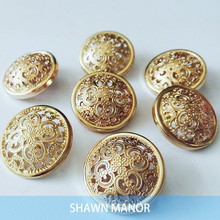 Alipress Wholesale 10Pcs/lot Gold Metal Buttons DIY Hollow Out Button For Craft Vintage Sewing Accessories 4-020