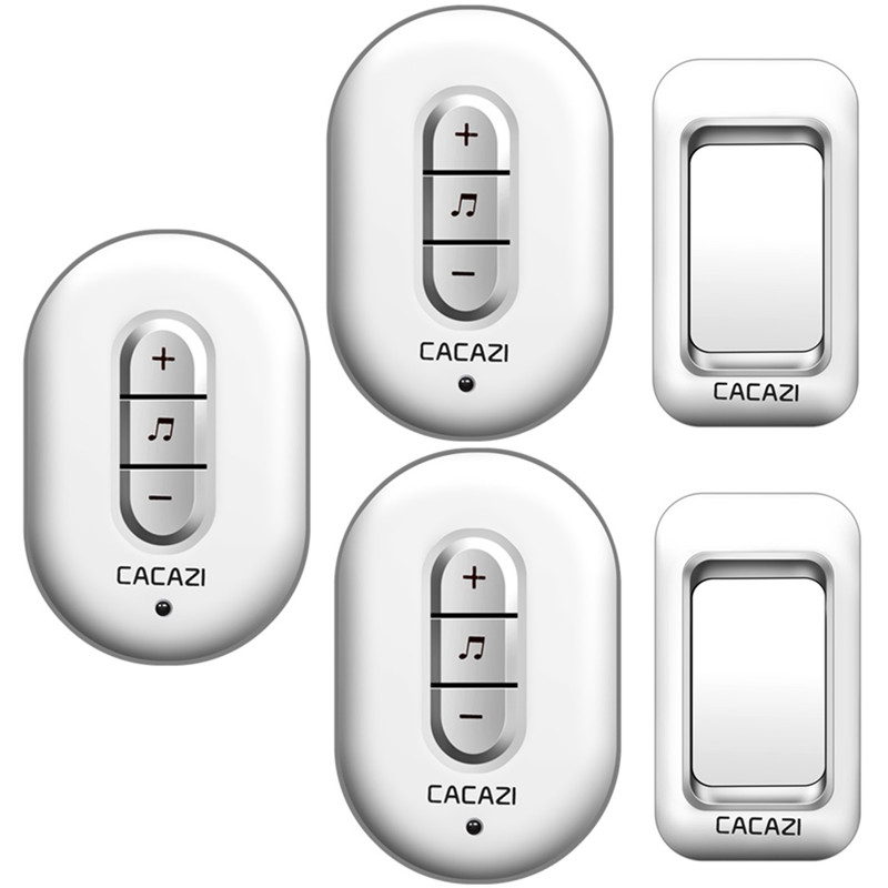 CACAZI Wireless Doorbell AC 110-220V 280M remote door bell 48 rings 6 volume door chime 2 waterproof buttons+3 plug-in receivers remote sensing inversion problems and natural hazards asradvances in space research volume 21 3