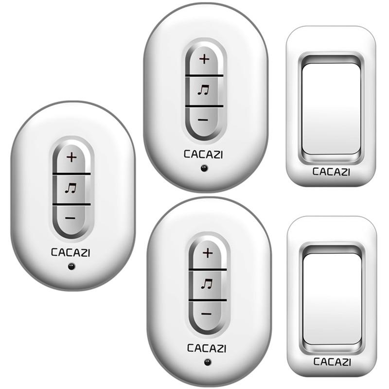 CACAZI Wireless Doorbell AC 110-220V 280M remote door bell 48 rings 6 volume door chime 2 waterproof buttons+3 plug-in receivers cacazi a9 3 ac 75 250v wireless doorbell 1 waterproof button 3 receivers 52 ringtones 4 volume 300m remote electronic doorbell