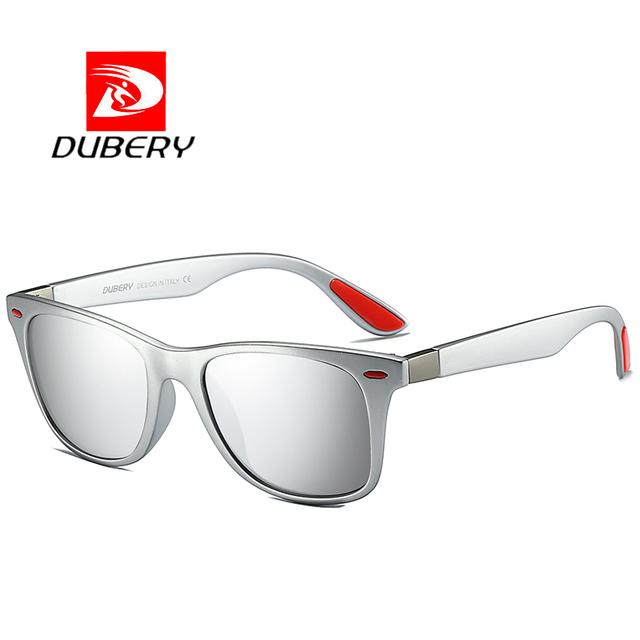 DUBERY  Polaroized Sunglasses For Men Sport Driving Sun Glasses Men Square Personality Color Mirror Luxury Brand Designer UV400