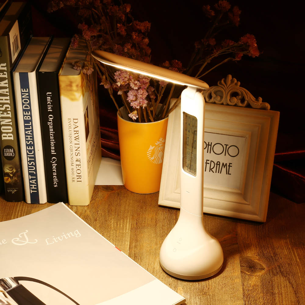 Table lamps gt battery led wireless lamp wireless usb by kartell - 3 In1 Foldable Dimmable Charging Led Table Lamp Touch Sensitive Desk Lamp With Temperature Alarm Clock