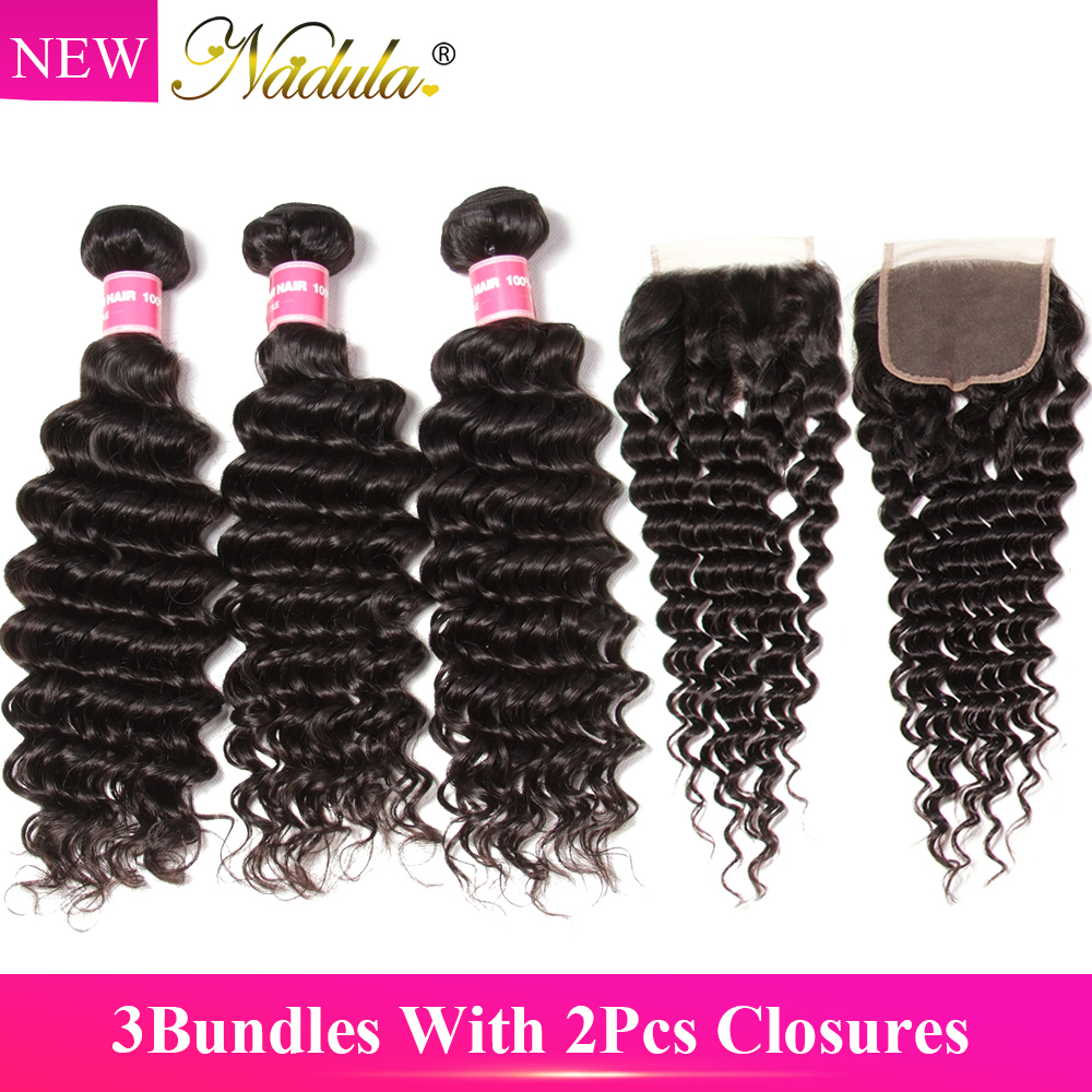 Nadula Hair 3 Bundles With 2Pcs Closures Brazilian Deep Wave Hair With Closure 100 Remy Human