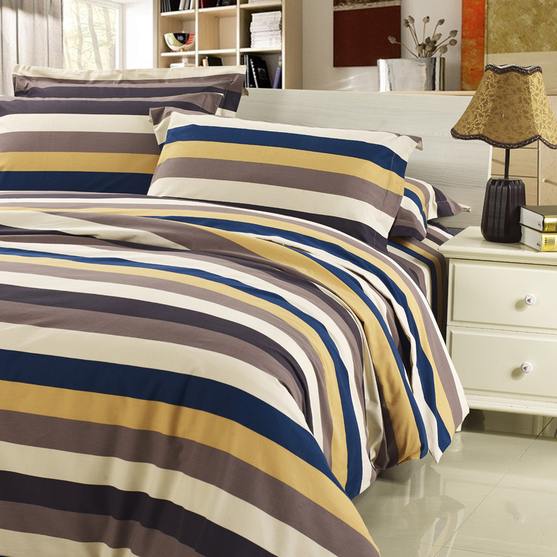 Contemporary Style Bed Sheet Set With Bold Stripes Design Thick Stripe Pattern Comforter Shell Extra Soft Sanding Cotton