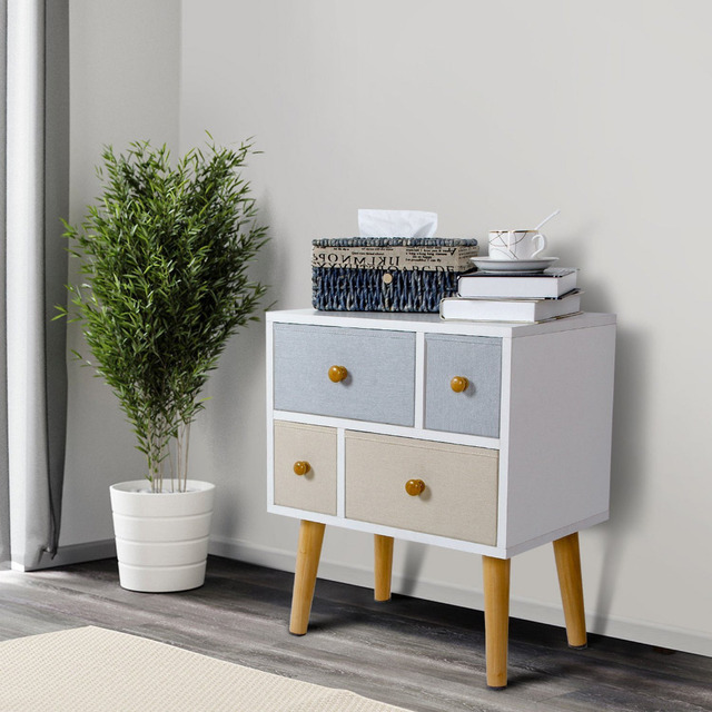 Lifewit Wood Nightstand Side Table End Table Storage Cabinet W/ 4 Drawers  Coffee Table Sofa