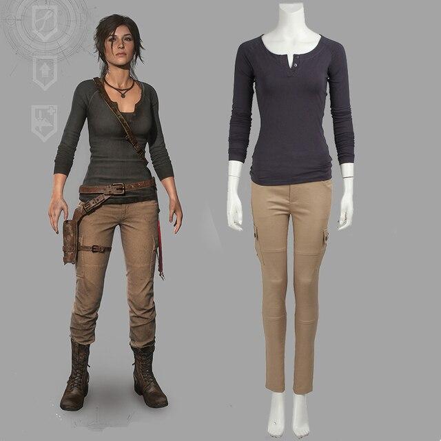 Rise Of The Tomb Raider Art Silk Fabric: Tomb Raider Costume Lara Croft Cosplay Outfit Halloween