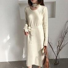 2018 Women dress Knitting Slim In Long Careful Hang On Necklt Dresses Gray White Purple Black Apricot 9035
