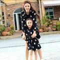 Мода Семья Соответствия Платье для Матери и Дочери С Длинными рукавами Звезда Печати Девушек, Платья