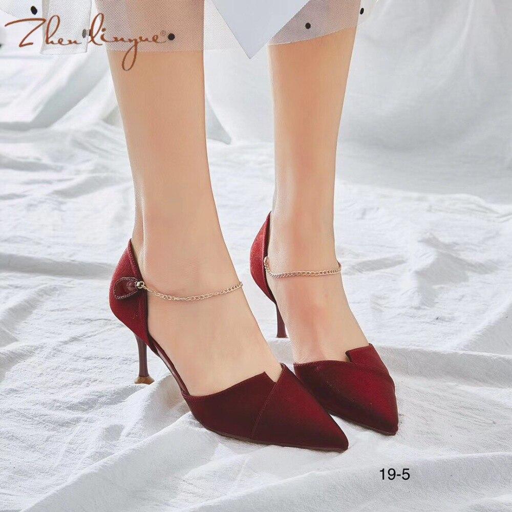 A19 Zapatos Black De Tacón 5 Hebilla 2019 Y 5 Otoño Primavera Alto Gamuza Palabra Rojo red A19 Wine Moda Nueva Vino Mujer Señaló xwOa1qw