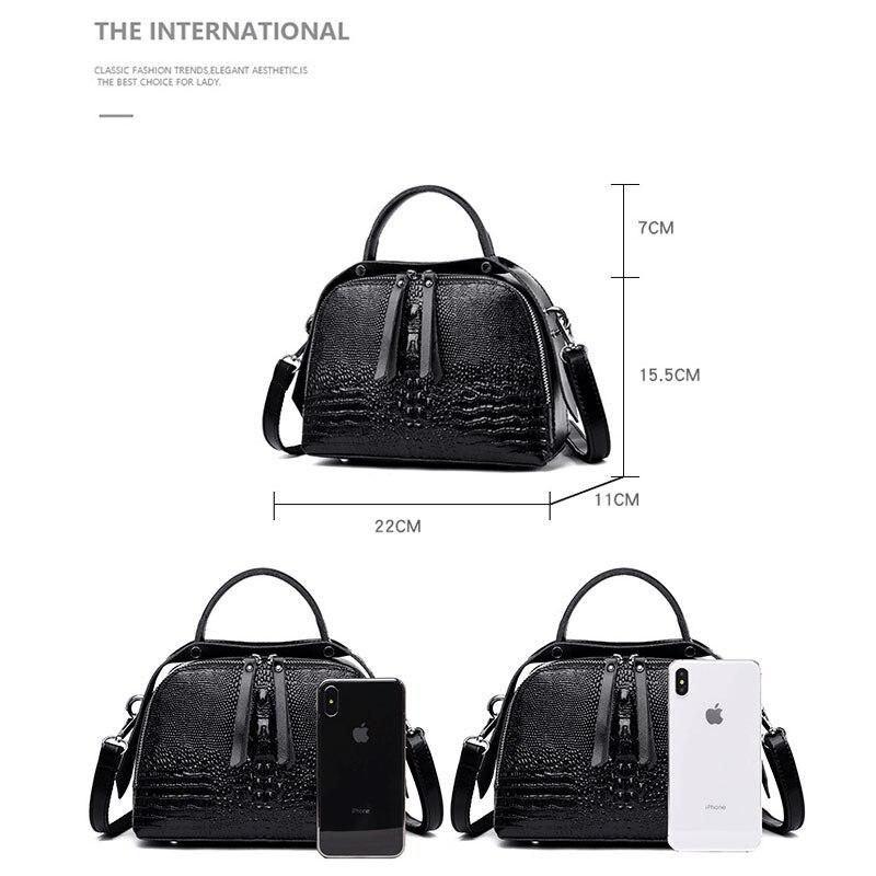 Leather handbags fashion 2019 new luxury crocodile pattern ladies handbags elegant ladies shoulder bag diagonal Boston package in Top Handle Bags from Luggage Bags