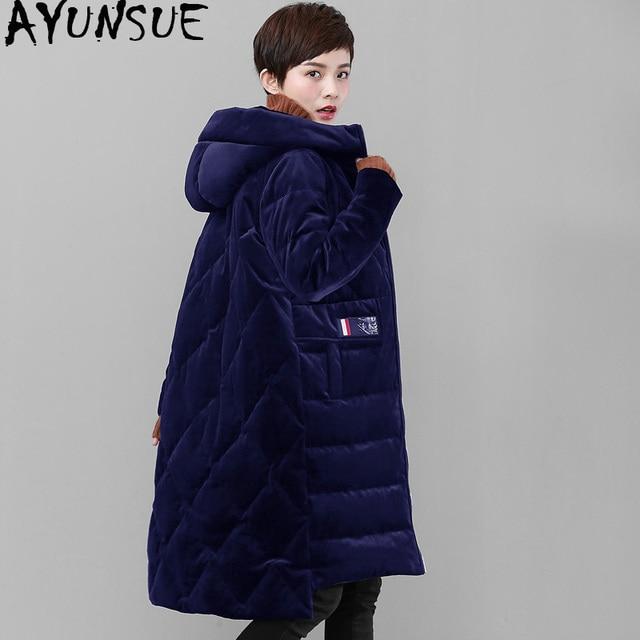c37440472 US $111.56 49% OFF|AYUNSUE Velvet Down Jacket for Women Winter Coat Hooded  Oversized Women's Jackets Long Loose Korean Parka Campera Mujer KJ552-in ...