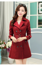 women jacket spring jacket women Spring new women's double-breasted coat Korean Slim and long sections coat free shipping