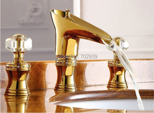 Free Ship ROMAN SINK FAUCET BATHROOM MIXER TAP Widespread Basin Lav Sink  Faucet Waterfall Gold Mixer