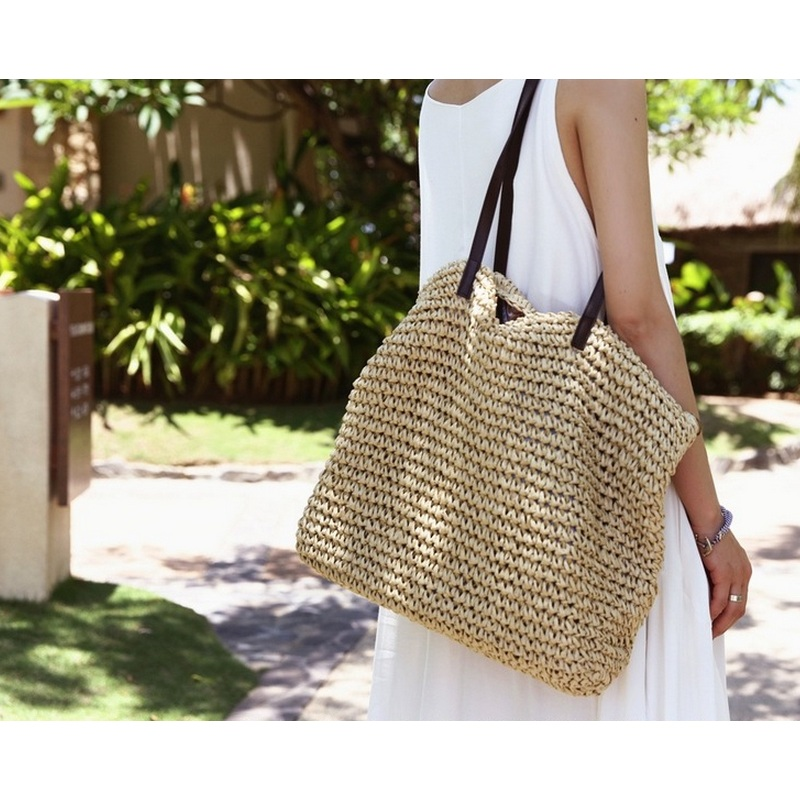 Summer Women Durable Weave Straw Beach Bag Feminine Linen Woven Bucket Bag Grass Casual Tote Handbags Knitting Rattan Bags Hobos beach straw bags women appliques beach bag snakeskin handbags summer 2017 vintage python pattern crossbody bag