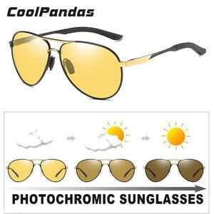 Image 2 - Day Night Vision 항공 안전 운전 포토 크로 믹 선글라스 남성 편광 된 카멜레온 선글라스 oculos de sol masculino
