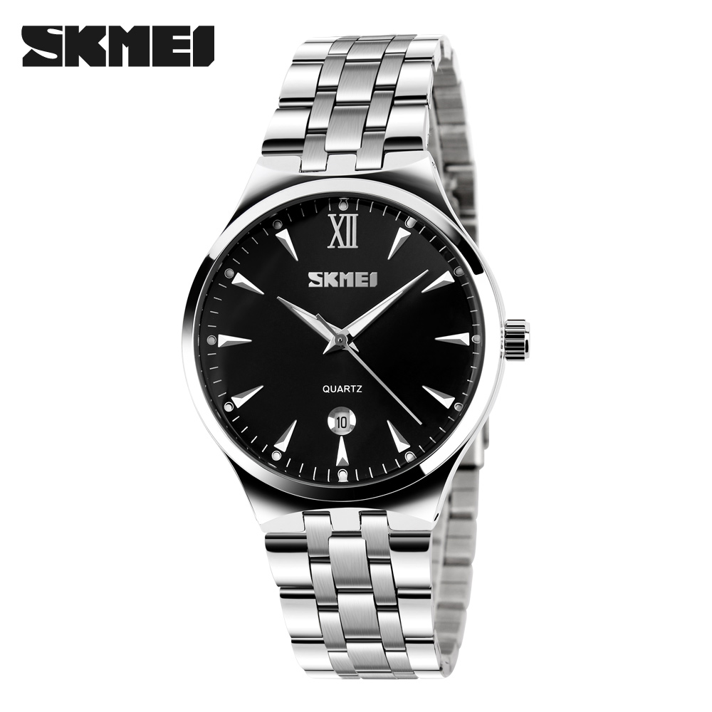 SKMEI 9071 Men Quartz Watch Male Luxury Brand Hot Design Fashion Business Wristwatches Women Mens Full Steel Watch Time Date onlyou luxury brand fashion watch women men business quartz watch stainless steel lovers wristwatches ladies dress watch 6903