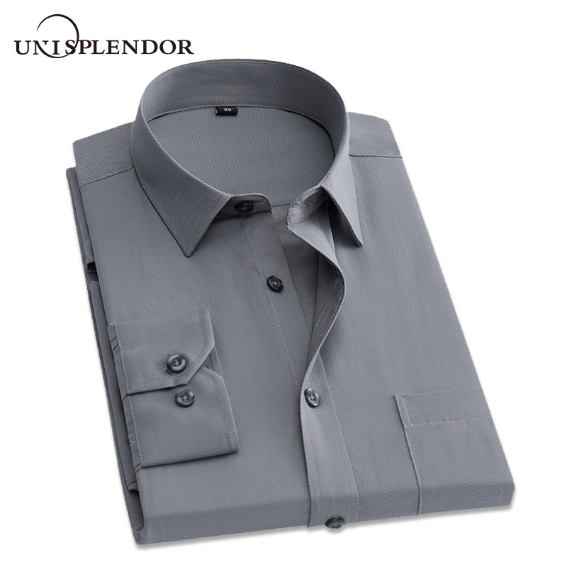 New Arrival 2019 Men's Shirts Solid Slim Men Dress Shirts Long Sleeve Male Business Working Wear Casual Winter Autumn YN10162