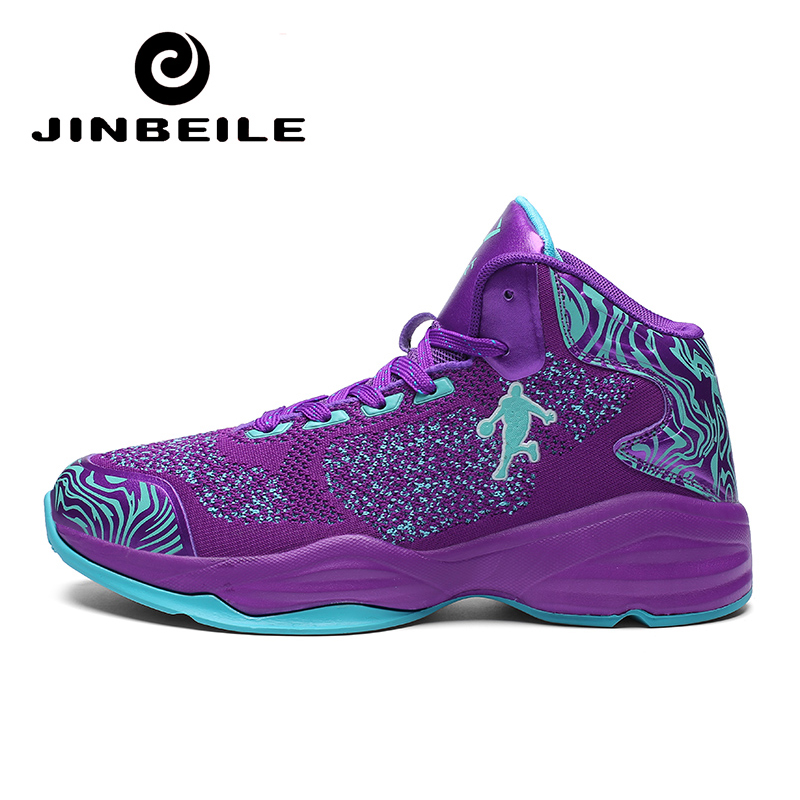 Purple Man Fly Wire Basketball Shoes Breathable Anti-slip Retro Sneakers Men Lace-up Sports Gym Ankle Boots Shoes Basket Homme