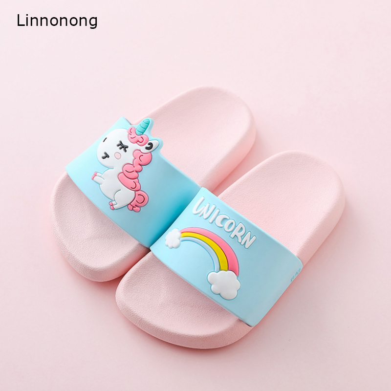 2019 New Type Children Slippers Cute Kids Cartoon Unicorn Slipper For Girls Boys Baby Soft Candy Colors Home Beach Shoe