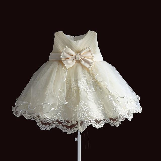 תינוק בנות שמלת מסיבת נסיכת תחרה פנינת תינוקות הטבלה שמלת 1 שנה יום הולדת שמלות חג המולד תינוק בגדים