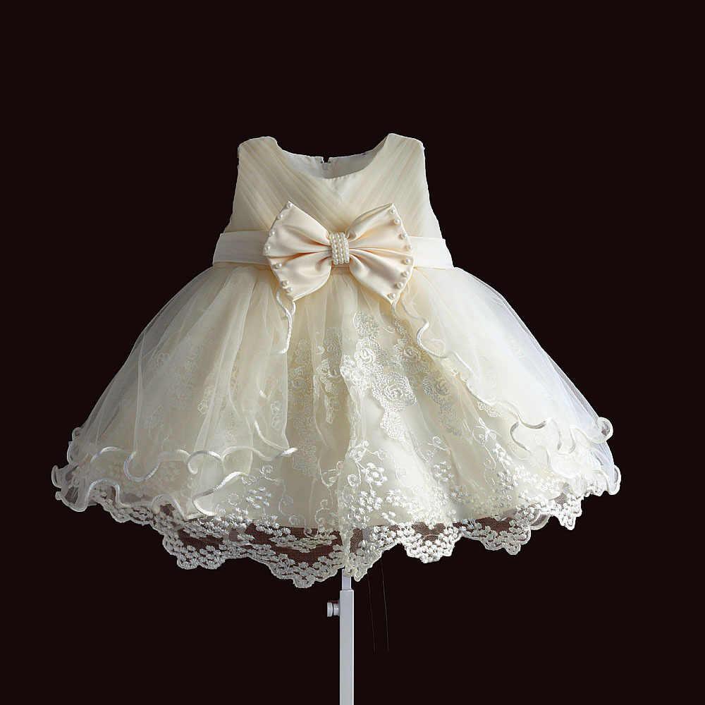 062b9731c Vestido de niña para fiesta princesa encaje perla infantil bautizo vestido  1 año cumpleaños vestidos Navidad