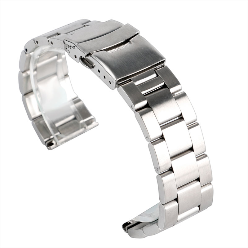 High Quality 20mm 22mm Silver Watch Band Strap Solid Stainless Steel Folding Clasp with Safety Replacement Watch Accessories 22mm silver replacement folding clasp with safety shark mesh men watch band strap stainless steel 2 spring bars high quality