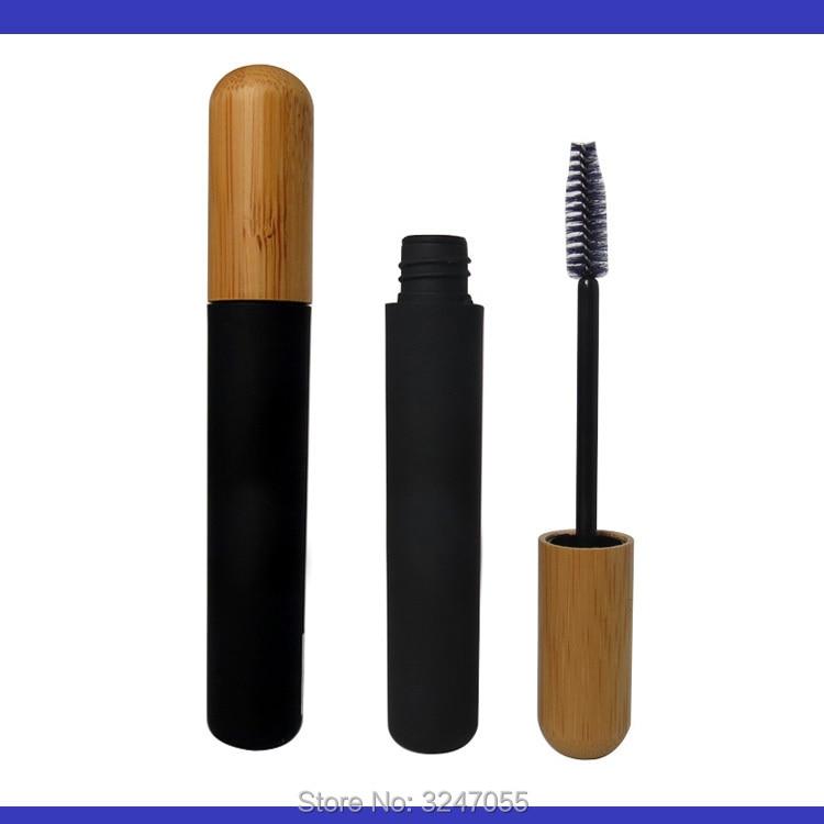 6ML50/100pcs Plastic Cosmetic Mascara Tube n Bamboo Cap, Black Empty Makeup Eyelashes Cream Container, Bamboo Lid Mascara Bottle cosmetic makeup waterproof black color eyeliner cream pink bottle