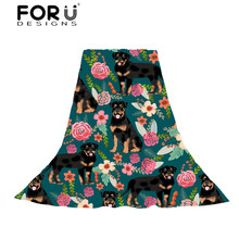 FORUDESIGNS Women Rottweiler Floral Dog Print Long Slik Scarves Ladies Fashion Beach Towel Pashmina for Females Hijab Stoles