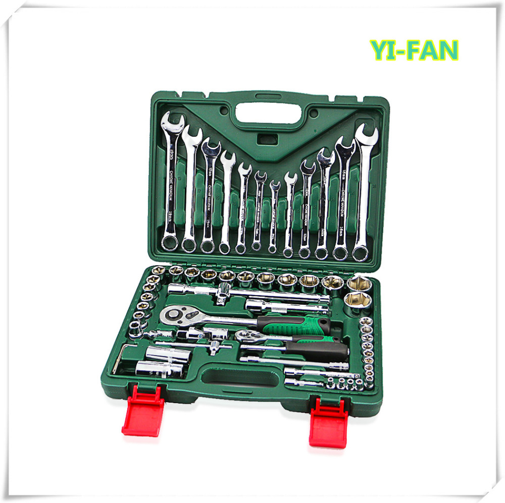 61pcs torque socket wrench set ratchet wrench spanners llave carraca 1/4 hand tools kit for car auto repair tool kit hot combination socket set ratchet tool torque wrench to repair auto repair hand tools for car kit a set of keys yad2001