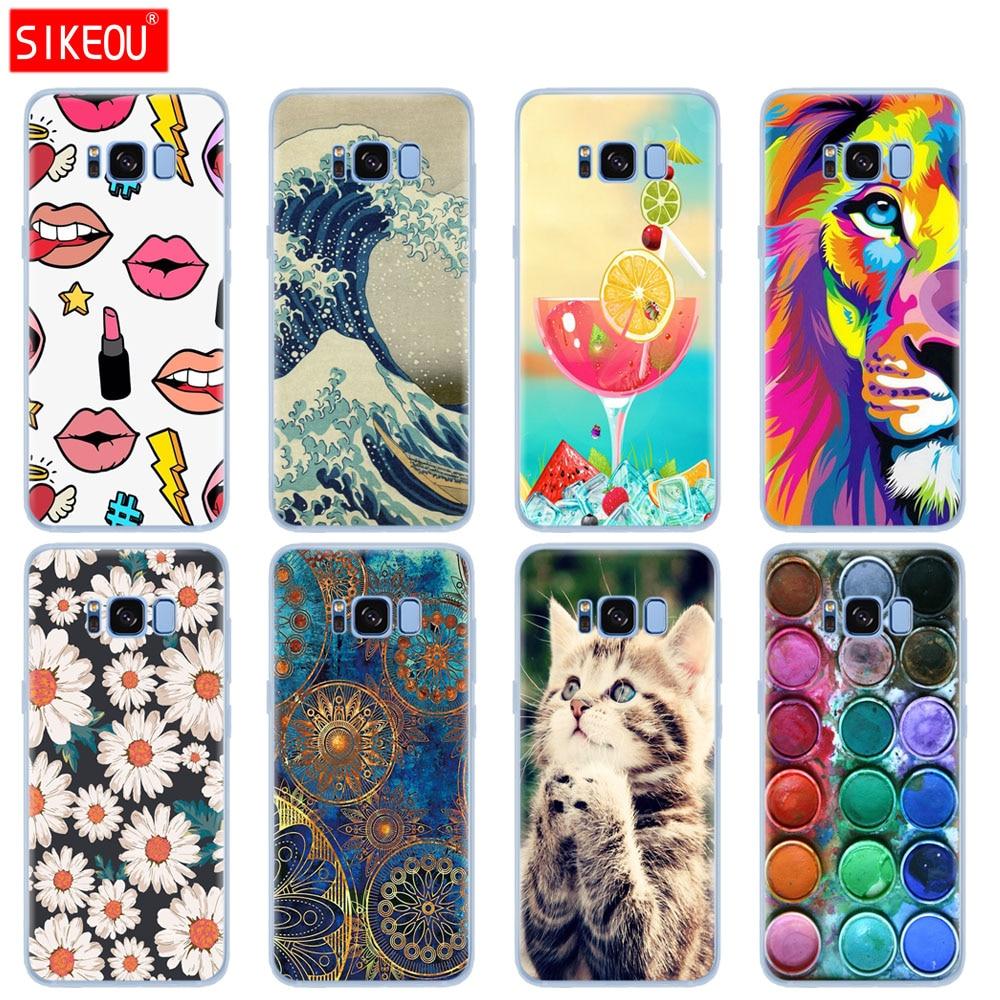 SIKEOU étui pour Samsung Galaxy S8/S8 PLUS en silicone souple étui pour Samsung S8/S8 plus coque de téléphone sumer fleur chat