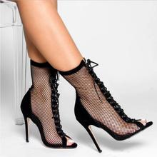 Liren 2019 Fashion Sexy High Heel Boots New Summer Party Mesh (Air Mesh)  PU Zip Fish Open Toe Cross-tie Lady Shoes