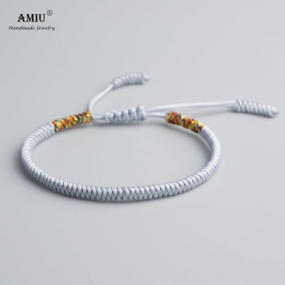 AMIU Tibetan Buddhist Lucky Charm Tibetan Bracelets & Bangles For Women Men Handmade Knots Rope Gray Bracelet as Christmas Gift
