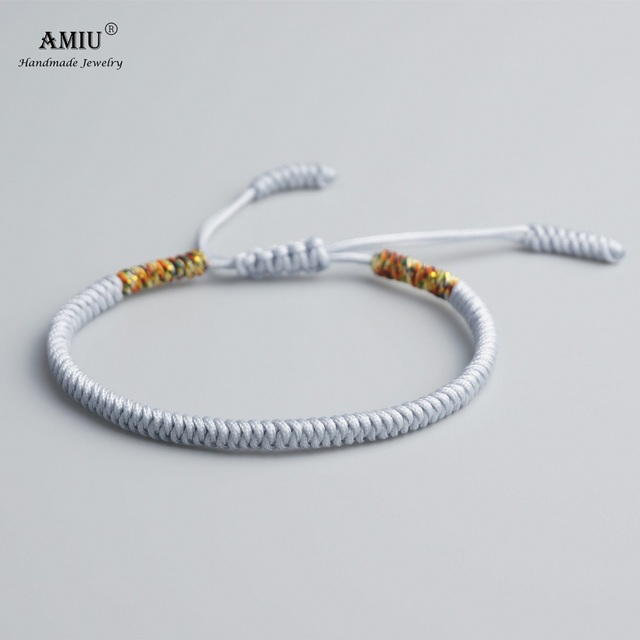 Amiu Tibetan Buddhist Lucky Charm Bracelets Bangles For Women Men Handmade Knots Rope Gray