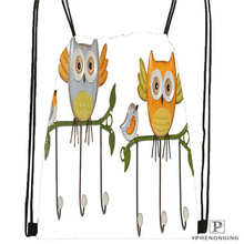 CustomCartoon Owl  Drawstring Backpack Bag Cute Daypack Kids Satchel (Black Back) 31x40cm#2018612-01-26