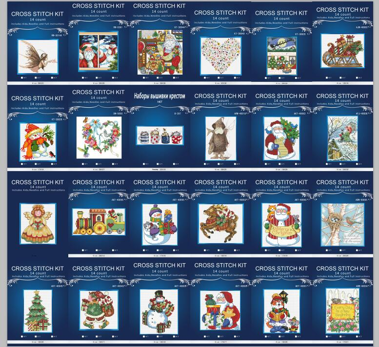 14/16/18/28 Lovely  Counted Cross Stitch Kit Wind Chime Santa Father Christmas Tree Ornament Ornaments Dim08766 25styles