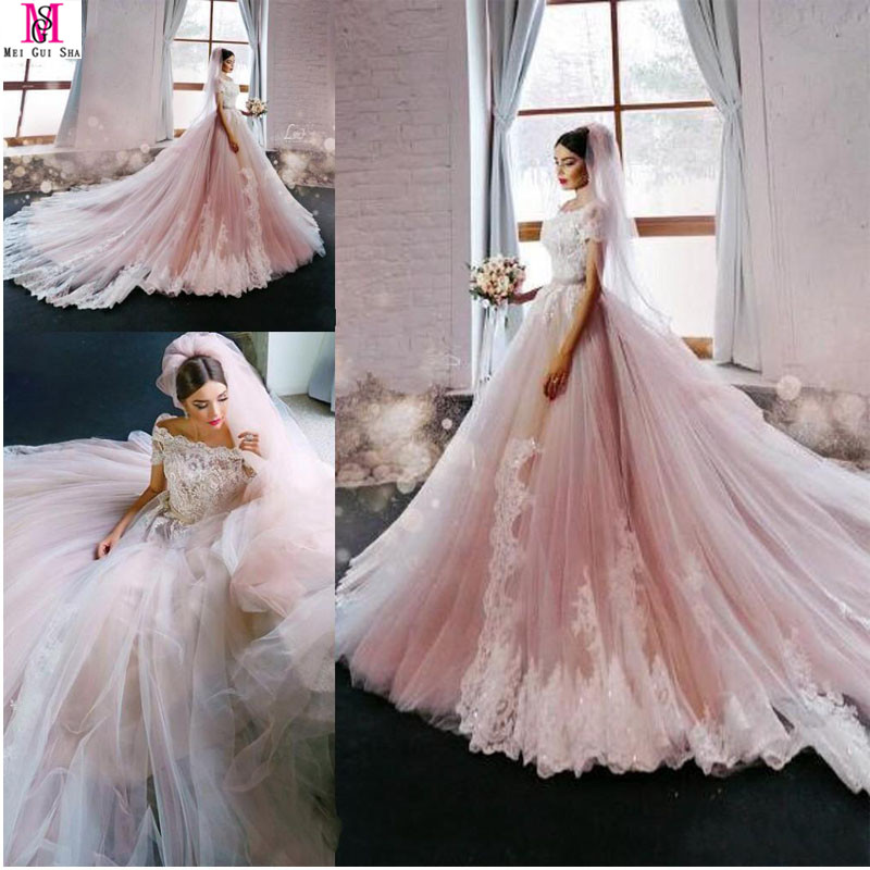 Online buy wholesale luxurious bridal gowns from china for Blush pink lace wedding dress