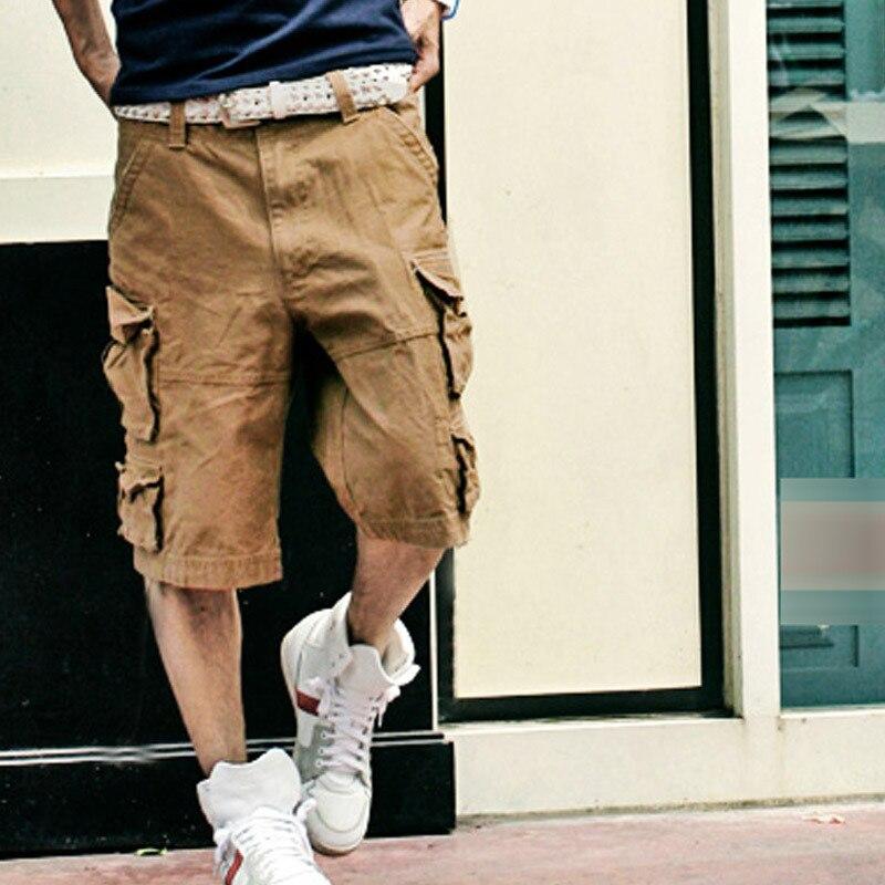 Новинка, Летний стиль, мужские повседневные армейские камуфляжные шорты Карго, хлопковые короткие штаны, военные камуфляжные модные шорты, мужские пляжные шорты - Цвет: Хаки