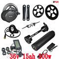 EU ONS Geen belasting bafang BBS02B 36 v 500 w mid centrale crank motor elektrische fiets conversie kit met 36 v 15AH Water Fles batterij
