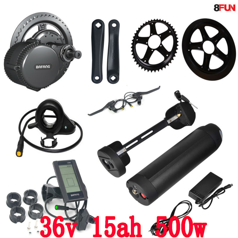 New bafang/8fun BBS02 36v 500w mid central crank motor electric bicycle conversion kit with 36v 15ah lithium battery