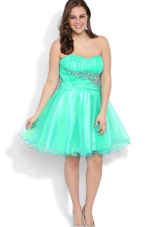 Organza Short Puffy Big Size Women Formal Gown Strapless