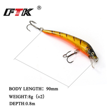 FTK Multicolor quality professional Minnow Fishing Lure 1pcs/lot 90mm 8g Hard  Floating Topwater Crankbite Wobblers
