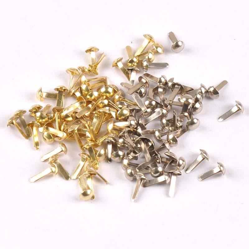 100PCs Mixed Silver/golden Round Brad Scrapbooking Embellishment Fastener Brads Metal Crafts For Diy Handmade Decoration Cp2252