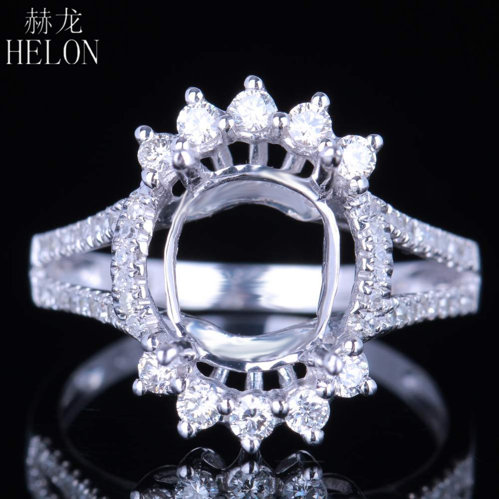 HELON Delicate Oval Cut 9x11mm Semi Mount Wedding Solid 14K White Gold Pave 0.46ct Natural Diamonds Engagement Fine Jewelry Ring цена