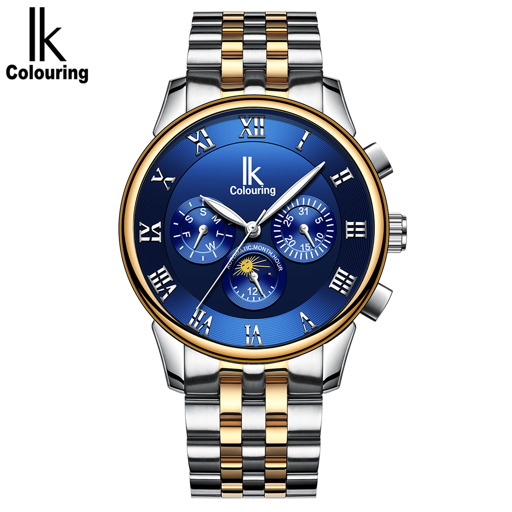 IK COLOURING Luxury Luminous Men Automatic Mechanical Watch Self-Wind Stainless Steel Man Business Wristwatch Masculino Relogio original binger mans automatic mechanical wrist watch date display watch self wind steel with gold wheel watches new luxury
